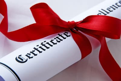a picture of a certificate